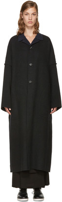 Yohji Yamamoto Black Double-Face Wool Coat $2,030 thestylecure.com