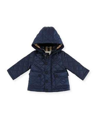 Burberry Jamie Quilted Hooded Jacket, Ink Blue, Size 6M-3