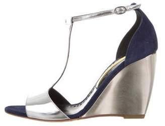 Rupert Sanderson Metallic Wedge Sandals
