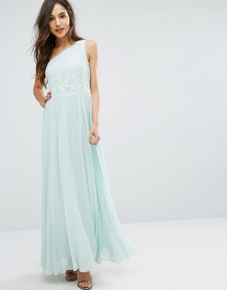 Oasis Lace One Shoulder Pleated Maxi Dress $138 thestylecure.com