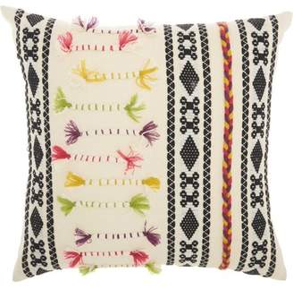 Nourison Life Styles Textured Patterns Cream Throw Pillow
