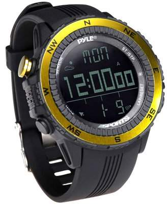Pyle Digital Multifunction Active Sports Watch with Altimeter, Barometer, Chronograph, Compass, Count-Down Timer, Measuring & Weather Forecast Modes (Yellow)