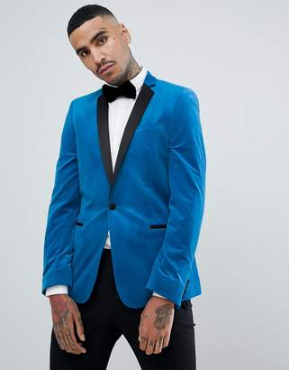 Asos Design DESIGN skinny blazer in bright blue velvet