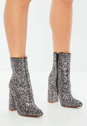Missguided Gray Glitter Flared Heel Ankle Boots