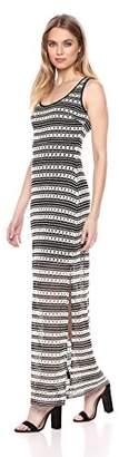 GUESS Women's Black and Beige Crochet LACE Maxi Dress
