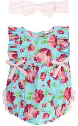 RuffleButts Life Is Rosy Printed Romper w/ Matching Bow Headband, Size 0-24 Months