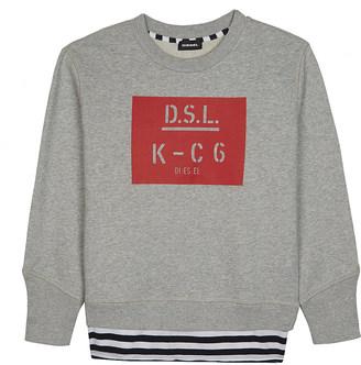 DIESEL D.S.L. logo cotton jumper 6-16 years $51 thestylecure.com
