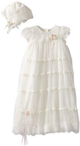 Biscotti Baby-Girls Newborn Cherished Heirloom Netting Gown with Bonnet