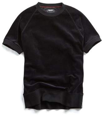 Todd Snyder Velour Short Sleeve Sweatshirt in Black