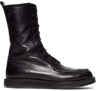 The Row Patty Lace Up Leather Combat Boots - Womens - Black