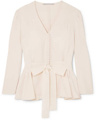 Stella McCartney Faille-trimmed Cady Peplum Blouse - Ecru