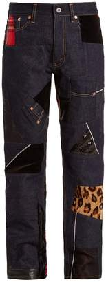 Junya Watanabe Straight-leg contrast-panel cotton-denim jeans
