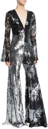 Halpern Deep-V Long-Sleeve Starburst-Sequin Flared-Leg Jumpsuit