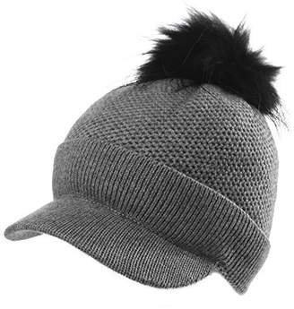 Siggi Womens Wool Knitted Hat with Visor Jeep Beanie Pom Cold Weather Winter Newsboy Cap Cuff Grey