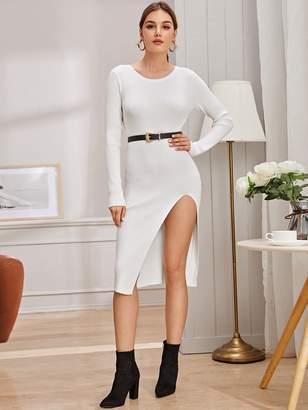 Shein Split Thigh Sweater Dress Without Belt