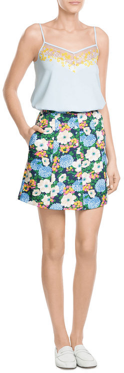 CarvenCarven Crepe Tank Top with Floral Embroidery