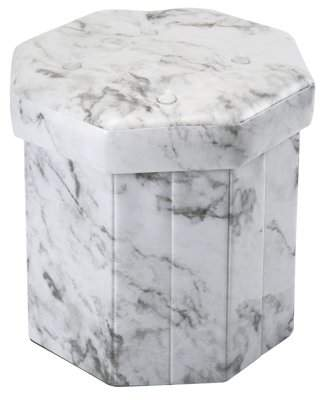 Simplify Octagon Folding Faux Leather Ottoman w/Marble Print 15 Diam. + 4 Buttons on Top