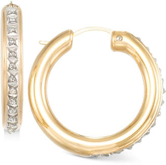 Signature Diamonds Rounded Hoop Earrings in 14k Gold over Resin Core Diamond and Crystallized Diamond Dust