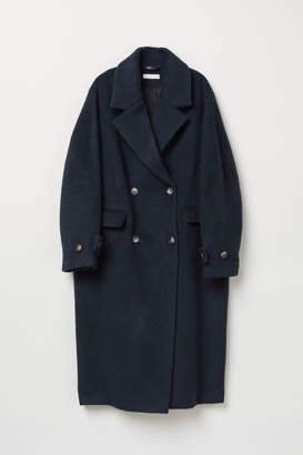 H&M Double-breasted Wool Coat - Blue
