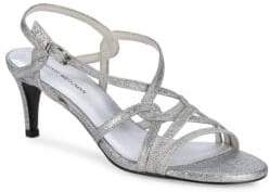 Stuart Weitzman On My Way Glittered Kitten Heel Sandals
