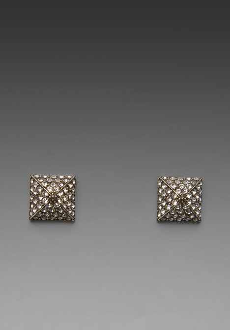 CC Skye Pave Pyramid Stud Earrings