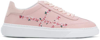 Hogan flower embroidered sneakers