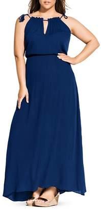 City Chic Plus Tassel-Shoulder Maxi Dress