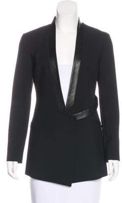 Robert Rodriguez Leather-Accented Collarless Blazer w/ Tags