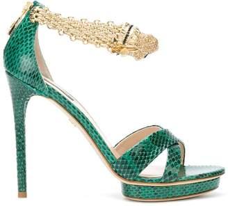 Roberto Cavalli panther jewel anklet platform sandals