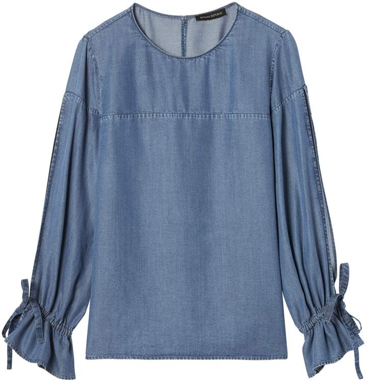 Petite TENCEL Chambray Tie-Cuff Top