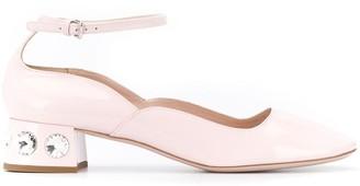 Miu Miu rhinestone-heeled Mary-Jane pumps