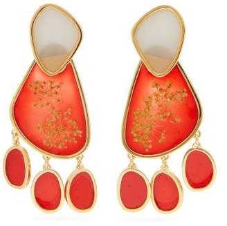 Peter Pilotto Double Face Drop Earrings - Womens - Red