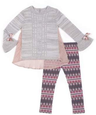 Little Lass Pleated Woven Back Sweater & Printed Knit Denim Jeans, 2pc Outfit Set (Baby Girls & Toddler Girls)