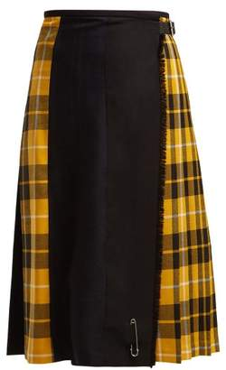 Le Kilt - Pleated Tartan Wool Kilt Skirt - Womens - Navy Multi