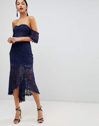 Club L Crochet Dip Hem Skirt