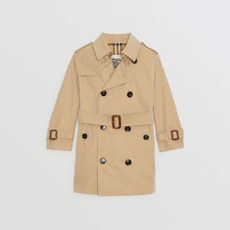 Burberry Cotton Gabardine Trench Coat , Size: 14Y, Yellow