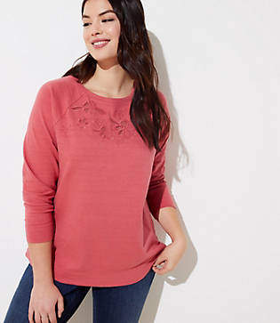 LOFT Plus Embroidered Floral Eyelet Sweatshirt
