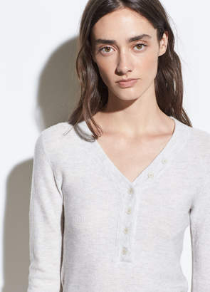 Cashmere-Wool Waffle Henley