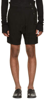 Nude:mm Black Linen Canvas Shorts