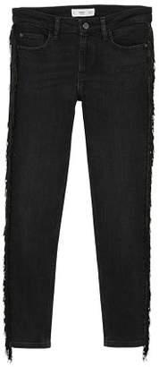 MANGO Fringed skinny jeans