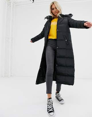Brave Soul hopma longline puffer jacket with faux fur trim hood