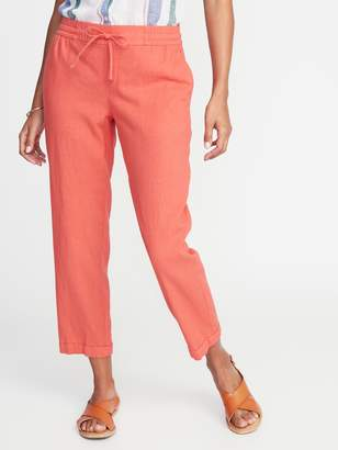 Old Navy Mid-Rise Linen-Blend Straight-Leg Cropped Pants for Women