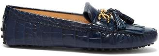 Tod's Gommini Crocodile Effect Leather Loafers - Womens - Navy