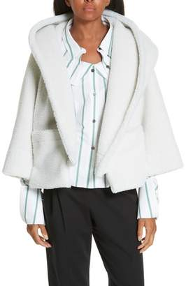 Ji Oh Crop Faux Shearling Hoodie Coat