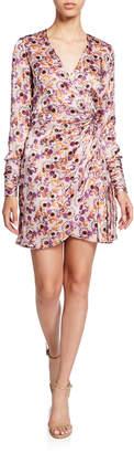 Alexis Kari Floral Long-Sleeve Mini Wrap Dress