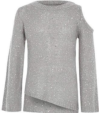River Island Girls Grey sequin cold shoulder jumper
