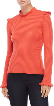 Derek Lam 10 Crosby Coral Ruffled Cashmere Sweater