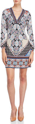 Hale Bob Printed Long Sleeve V-Neck Dress
