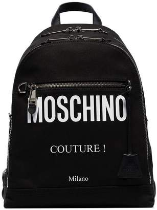 Moschino black logo print cotton canvas backpack