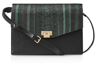 Reiss Conway Snake Leather Shoulder Bag